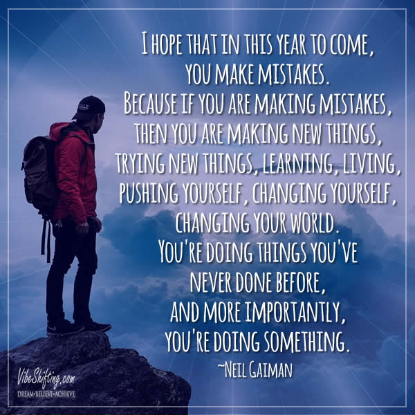 Neil Gaiman quote about making mistakes
